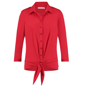 Rode blouse Poppy Knot 3/4