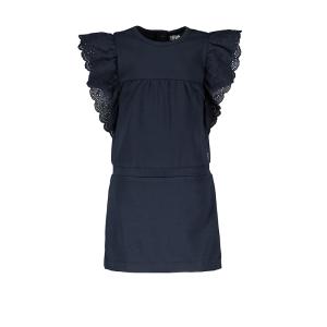 Donkerblauwe broidery anglais jurk 7830