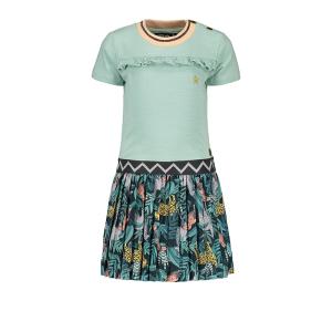 Mintgroene ruffle jurk plisse 7850