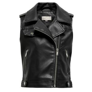 Zwart faux leather vest Michela