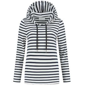 Blauw met wit gestreepte hoodie Breton
