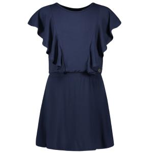 Donkerblauwe ruffle smock jurk 5851
