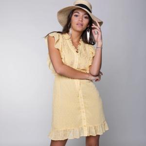 Geel geprinte jurk Celine Embroidery
