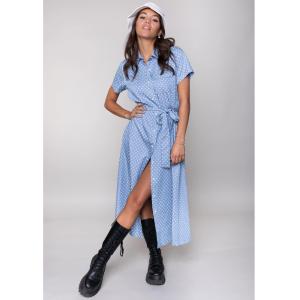 Blauw geprint maxi shirt Dalia Star