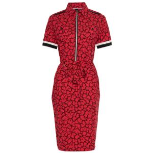 Rood met zwarte print jurk