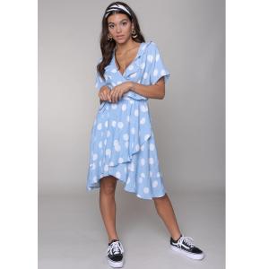 Blauw geprinte jurk Telsi Dots Wrap