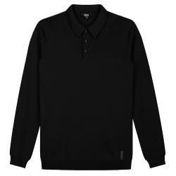 Zwarte polo LS Knit
