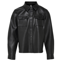 Zwart faux leather shirt Brylee-Dion
