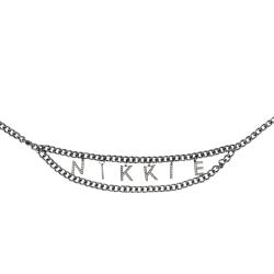 Zilveren riem Strass Logo Waist