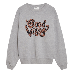 Lichtgrijze sweater Good Vibes Only