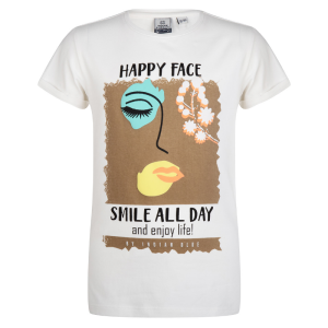 Wit t-shirt Happy Face