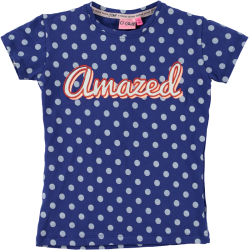 Blauw gestipt t-shirt Lois