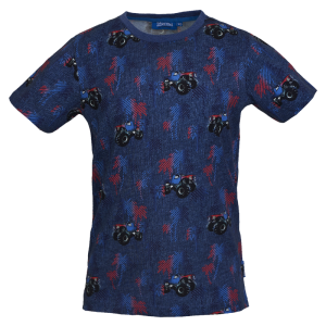 Donkerblauw geprint t-shirt Victor