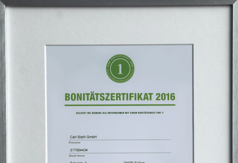 Carl Stahl GmbH receives the Bisnode credit rating certificate again in 2016