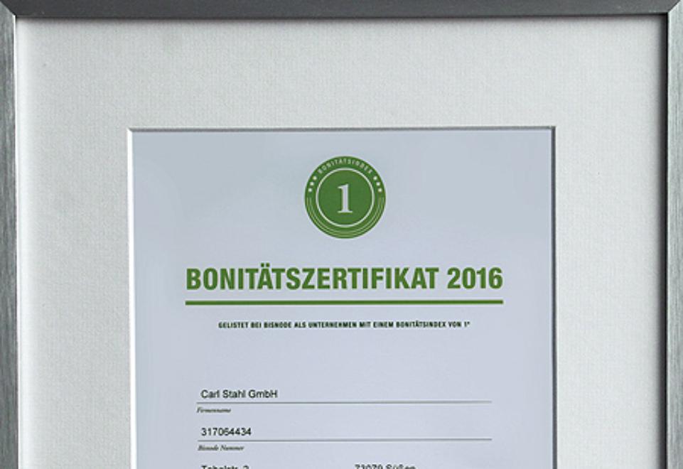 Carl Stahl GmbH erhält auch 2016 das Bisnode Bonitätszertifikat