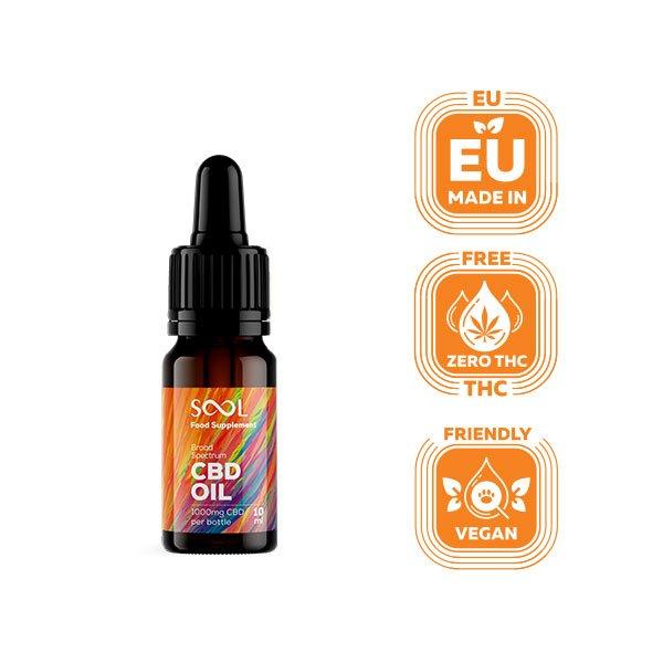 Sool Broad Spectrum CBD Oil 1000mg, 10ml, THC Free