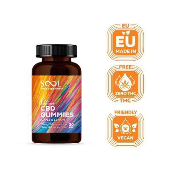 Sool Broad Spectrum CBD Gummies 750mg, 30 pcs, THC Free