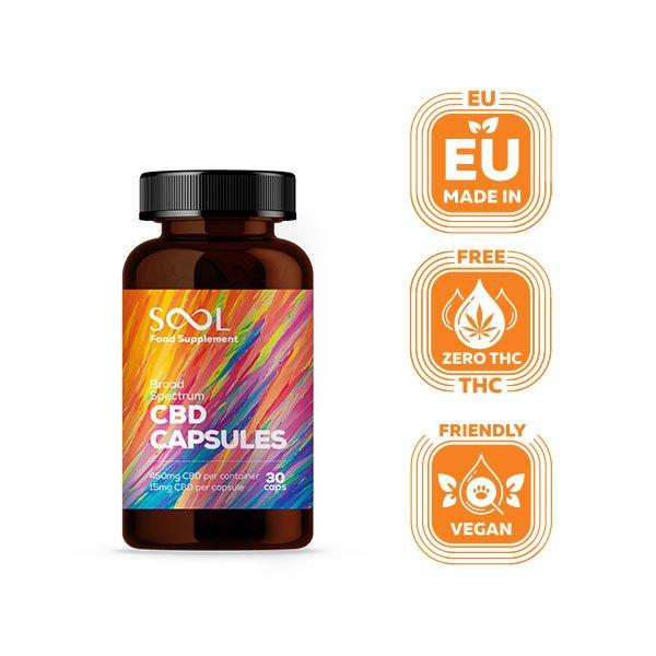 Sool Broad Spectrum CBD Gel Capsules 450mg, 30pcs, THC Free