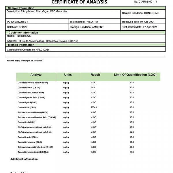 15 Vegan CBD Gummies 375mg