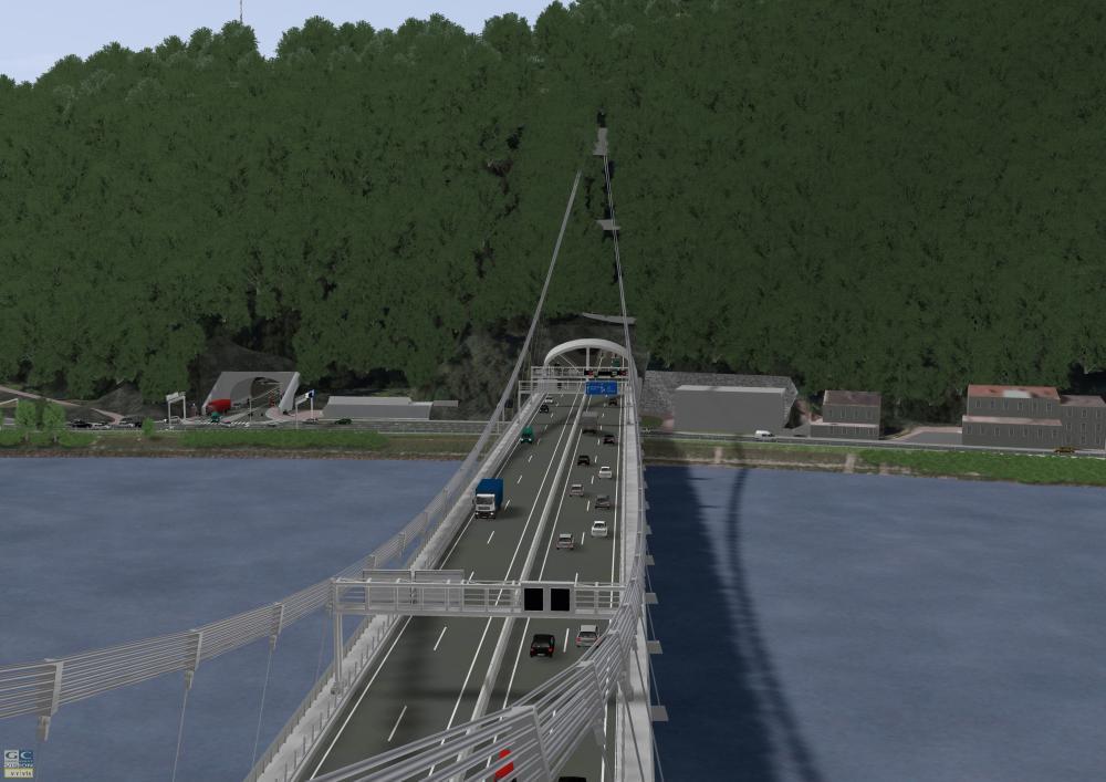 Brücke führt in einen Tunnel
