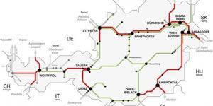 Karte von Österreich mit STromnetz