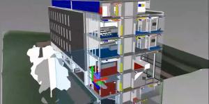 Rendering eines Bürogebäudes