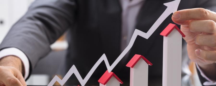 ansteigende Kurve bei Immobilien