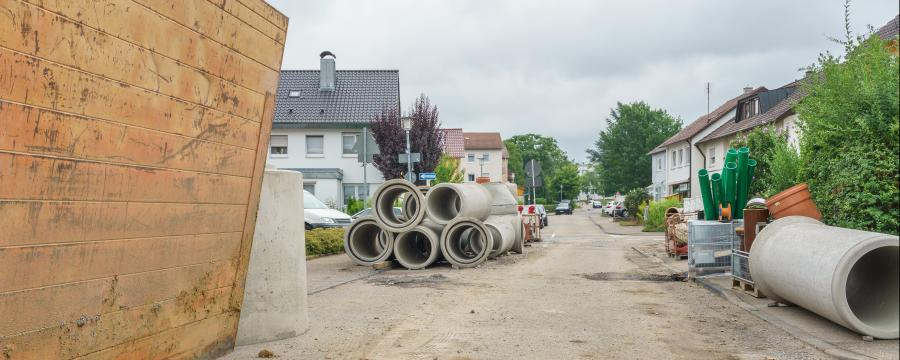 Gemeindestraße Baustelle