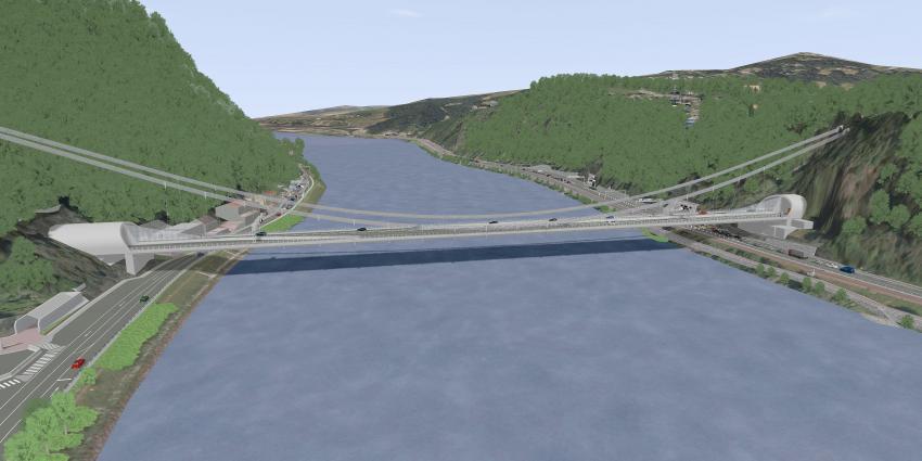 Rendering einer Hängebrücke