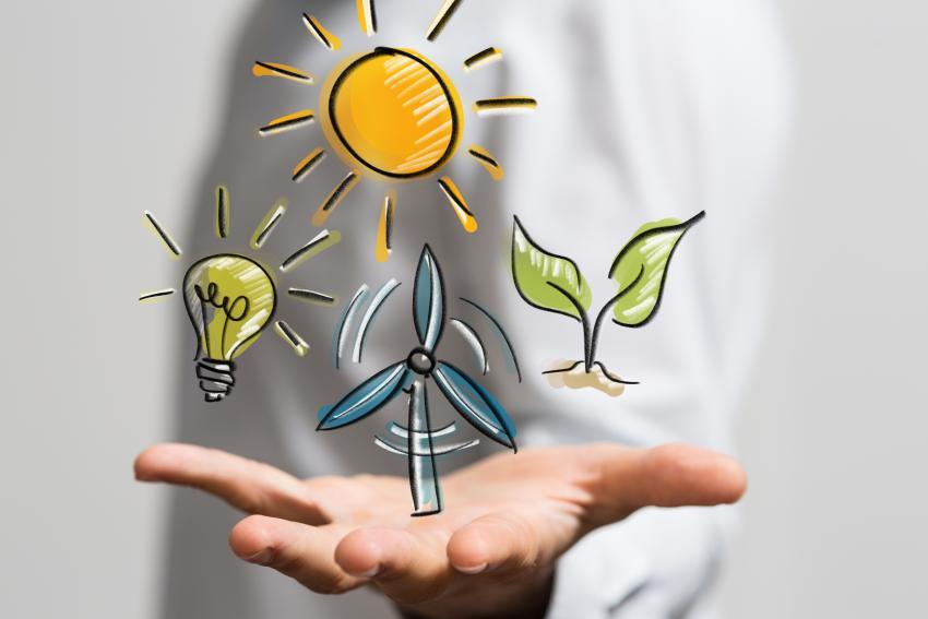 Symbole für Sonnen- und Windkraft