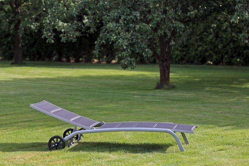 Leżak ogrodowy aluminiowy Ibiza Silver / Black zdjęcie 6