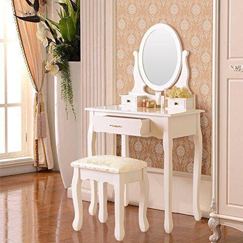 Toaletka Kosmetyczna Biała NANCY + lustro + taboret zdjęcie 2