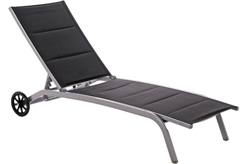 Leżak ogrodowy aluminiowy Ibiza Silver / Black zdjęcie 1