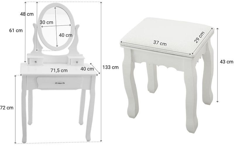 Toaletka Kosmetyczna Biała NANCY + lustro + taboret zdjęcie 9