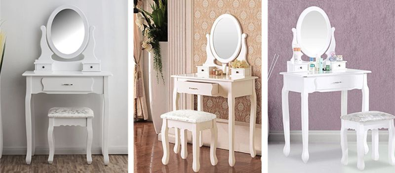 Toaletka Kosmetyczna Biała NANCY + lustro + taboret zdjęcie 11