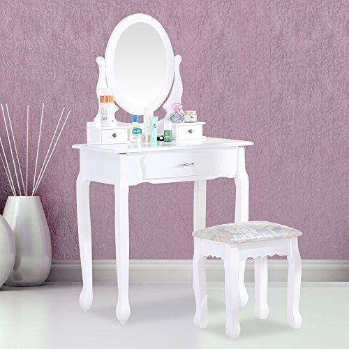 Toaletka Kosmetyczna Biała NANCY + lustro + taboret zdjęcie 3