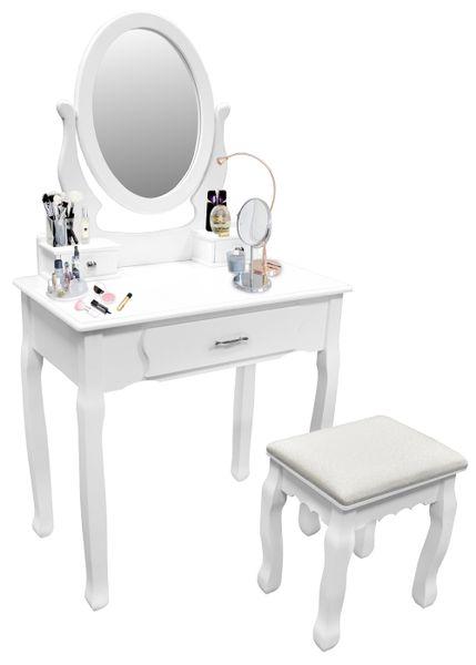 Toaletka Kosmetyczna Biała NANCY + lustro + taboret zdjęcie 4