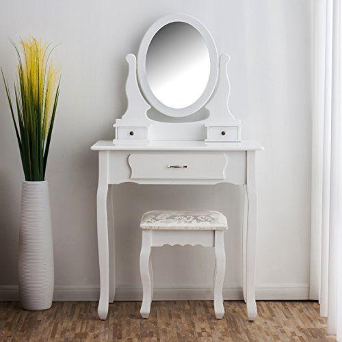 Toaletka Kosmetyczna Biała NANCY + lustro + taboret zdjęcie 6