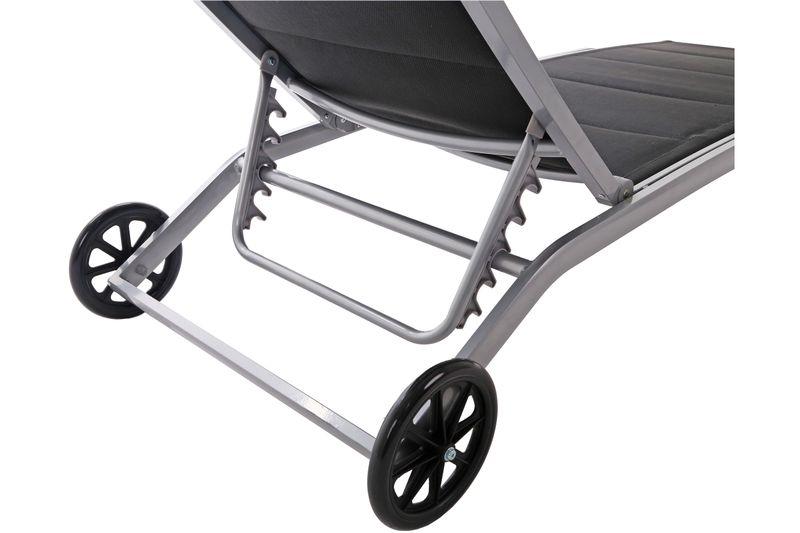 Leżak ogrodowy aluminiowy Ibiza Silver / Black zdjęcie 3
