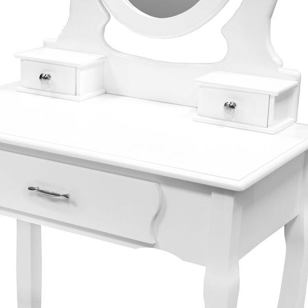 Toaletka Kosmetyczna Biała NANCY + lustro + taboret zdjęcie 5