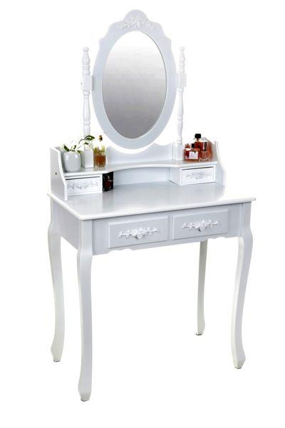 Toaletka kosmetyczna biała z lustrem + taboret,model DTW003 zdjęcie 1