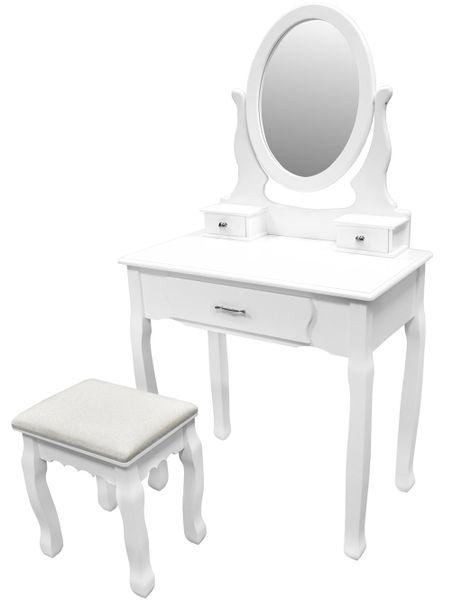 Toaletka Kosmetyczna Biała NANCY + lustro + taboret zdjęcie 1