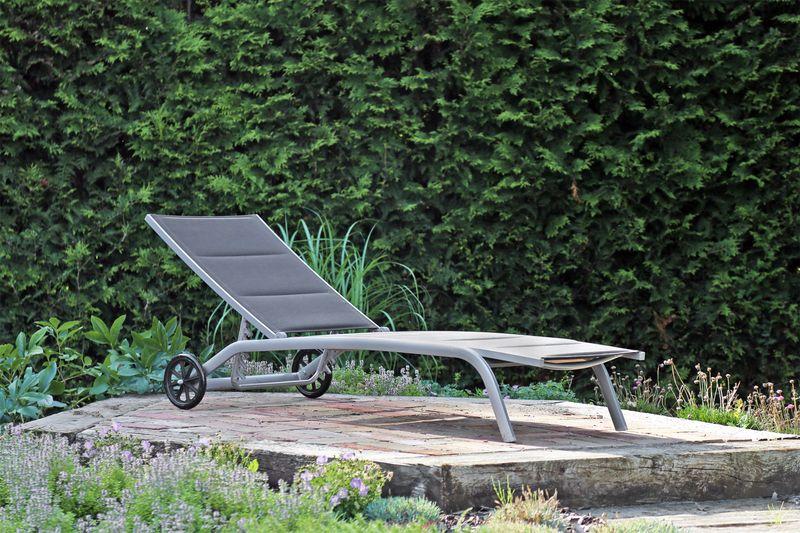 Leżak ogrodowy aluminiowy Ibiza Silver / Black zdjęcie 7