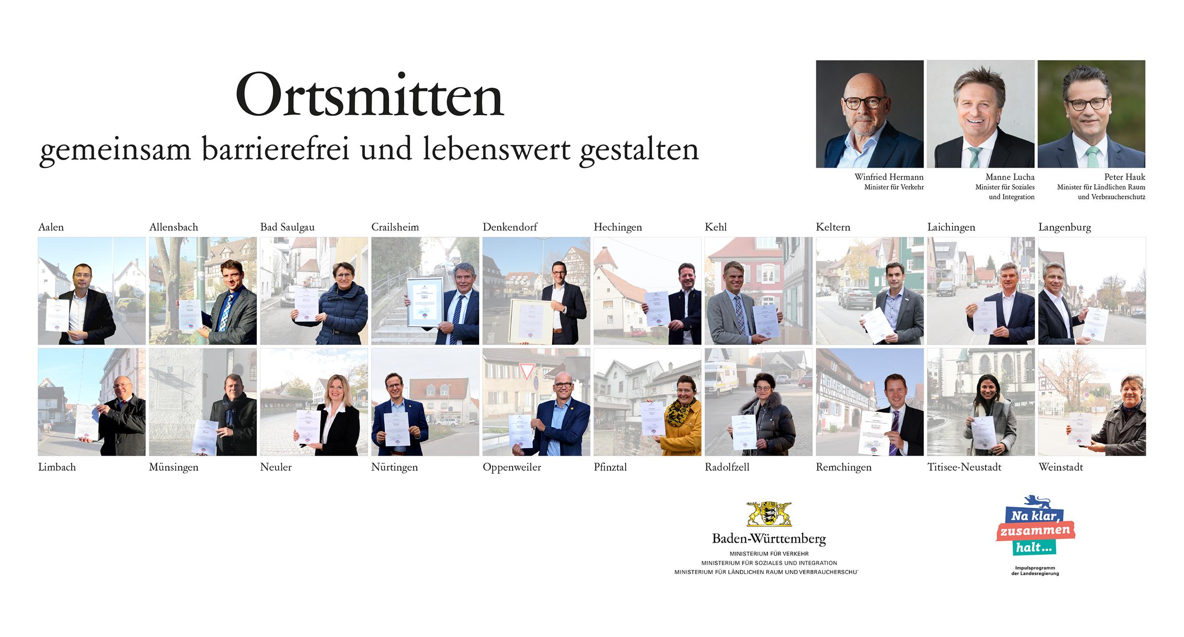 """Alle Modellkommunen des Projekts """"Ortsmitten - gemeinsam barrierefrei und lebenswert gestalten"""" (c)Ministerium für Verkehr"""