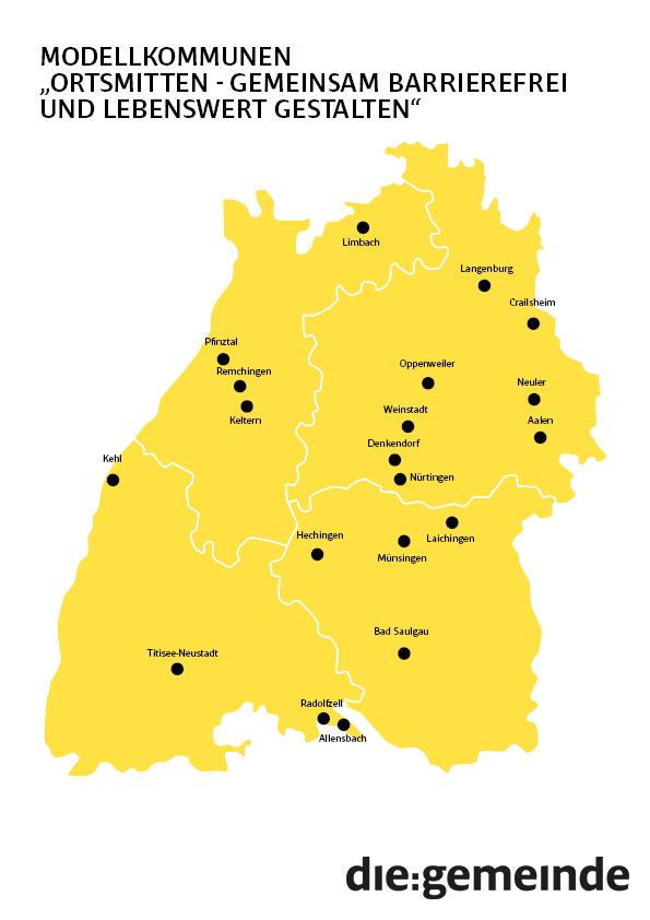 Landkarte - Modellkommunen für das Ortsmitten-Projekt