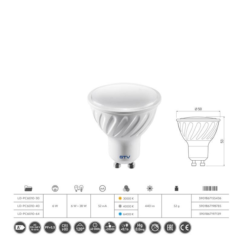 Slika LED SIJALICA GU10 6W 3000K