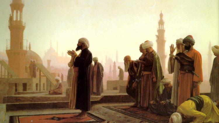 مجموعة من المصلين في مصر القديمة في لوحة «الصلاة في القاهرة» للقنان الفرنسي «جان ليون جيروم»، 1865م.