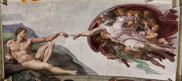 (الإله يخلق آدم)، أحد المشاهد التي قام مايكل أنجلو برسمها على تصويره الحسي المرسوم على سقف كنيسة سيستين.