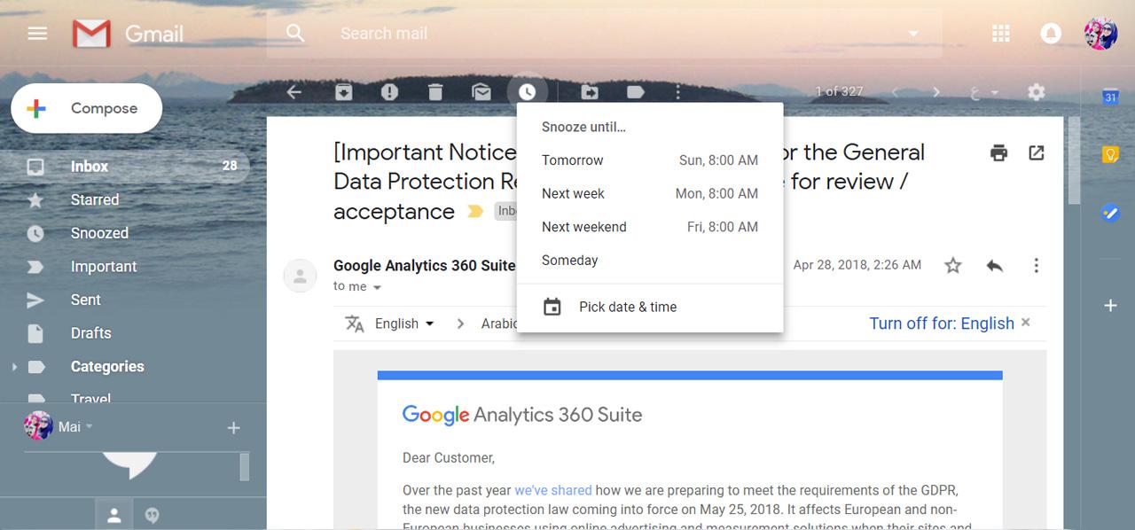 تحديثات جوجل, البريد الإلكتروني, خصائص جوجل