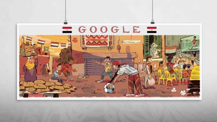 جوجل, مصر, كأس العالم 2018, جوجل دودلز, رسومات, لوحات جوجل